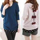 Set: Long-sleeved Bow-accent Cardigan + Heart Print Knit Tank Top