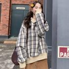 Collared Plaid Pullover As Shown In Figure - One Size