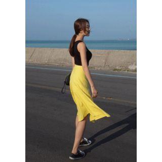High-waist A-line Midi Skirt
