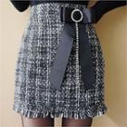 Tweed Mini Pencil Skirt With Brooch