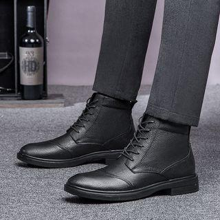 Fleece-lined Genuine-leather Lace-up Short Boots