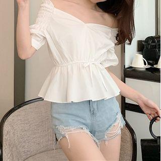 Short-sleeve Peplum Top White - One Size