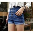 High-waist Button Denim Shorts