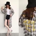 Lettering Plaid Long Robe Cardigan With Sash