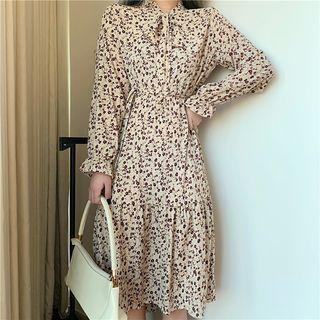 Long-sleeve Tie-neck Floral Printed Dress