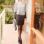 Mock Two-piece Dress Gray - One Size