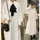 Long-sleeve Midi Dress / Bow Accent Long-sleeve Midi Dress