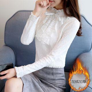 Long-sleeve Tie-neck Fleece-lined Lace Top