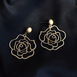 Rose Earring 1 Pair - Steel Needle - Gold - One Size