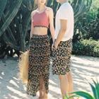 Couple Matching Floral Print Swimshorts / Midi Skirt / Bikini Top / Set