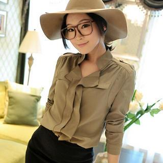 Mandarin-collar Blouse