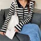 Long-sleeve Striped Zip-up Knit Top