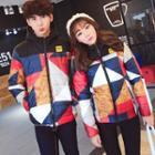Couple Hooded Camouflage-print Padded Jacket