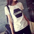 Sequined Letter Short-sleeve T-shirt