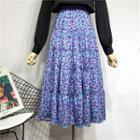 Floral Print Layered A-line Skirt