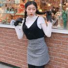 Check Wool Blend A-line Mini Skirt