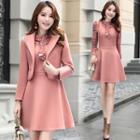Set: Sleeveless Woolen A-line Dress + Cropped Woolen Jacket