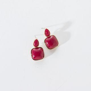 Glaze Square Dangle Earring 1 Pair - Wine Red - One Size