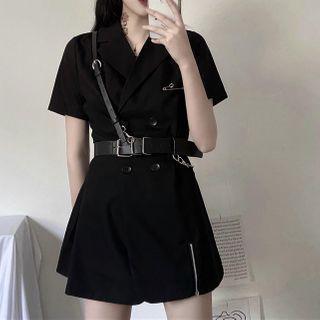 Set: Short-sleeve Double Breasted Dress + Belt