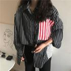 Color Block Striped Long-sleeve Shirt