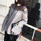 Patchwork Mock Two-piece Hooded Top
