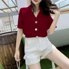 Notch Lapel Plain Short-sleeve Chiffon Blouse