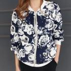 Floral Pattern Zip-up Jacket