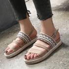 Patterned Strappy Platform Sandals