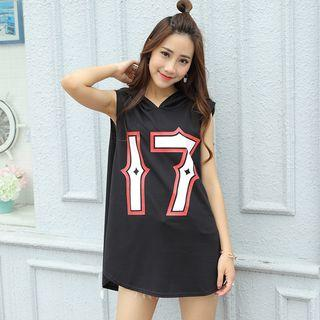 Sleeveless Numbering Hooded Long Top Black - One Size
