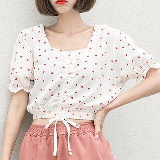 Short-sleeve Heart Patterned Drawstring Chiffon Top / Wide-leg Shorts