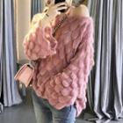 Patterned Rib Knit Sweater