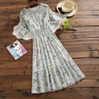 Crochet-trim Floral Chiffon Dress