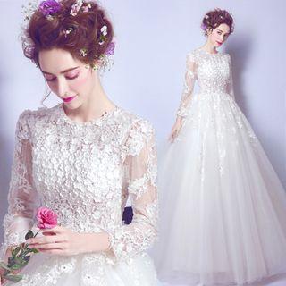 Flower Applique Long-sleeve A-line Bridal Evening Gown