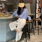 Plain Oversize Shirt / Cropped Baggy Pants
