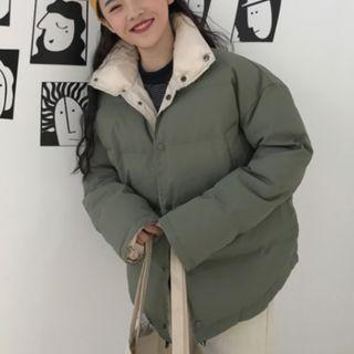 Plain Padded Coat With Detachable Hood