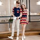 Couple Matching Chevron Short Sleeve T-shirt / A-line Dress