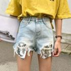 Sequined Ripped Denim Shorts