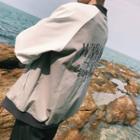 Lettering Back Color Panel Zip Jacket