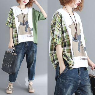 Elbow-sleeve Patterned T-shirt As Shown In Figure - One Size