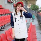 Letter Embroidered Hooded Coat