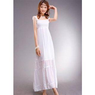 Sleeveless Ruched Maxi Dress As Shown In Figure - One Size
