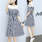 Cutout Shoulder Striped A-line Dress
