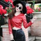 Faux-leather Cropped Top