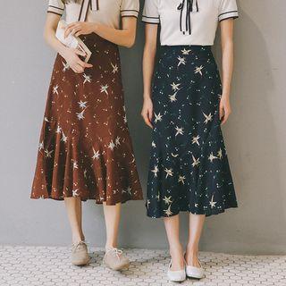 A-line Chiffon Floral Skirt
