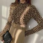 Mockneck Leopard Velvet Top Brown - One Size