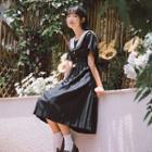 Sailor Collar Short-sleeve Pleated Dress