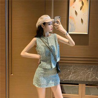 Sleeveless Tweed Top / Tweed Mini Skirt