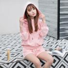 Set : Plain Hooded Jacket + Shorts