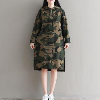 Hooded Camouflage Printed Dress