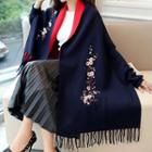 Embroidered Batwing-sleeve Fringed Cardigan